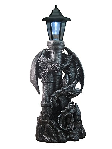 Mythical Fierce Dragon on Castle   Outdoor Sculptures with Solar Lantern   Lawn Garden Porch or Patio Fantasy Statue Decor   Gothic and Mythical Gifts  
