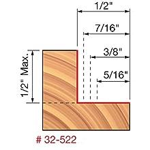 """5/16"""", 3/8"""", 7/16"""", 1/2"""" Depth Rabbeting Bit with Bearings"""