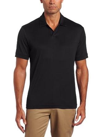 Perry Ellis Men's Short Sleeve Cotton Blend Open Polo, Black, Small