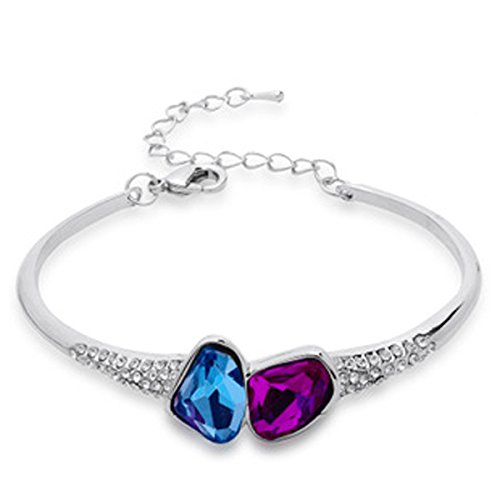 Lily Jewelry ® Fashion placcato argento, colore: Blu, con cristalli Swarovski Elements &-Braccialetto da donna