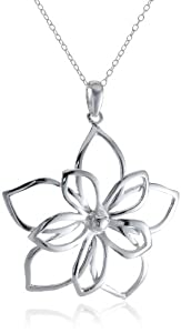 Sterling Silver Open Double Flower Pendant, 16-18""