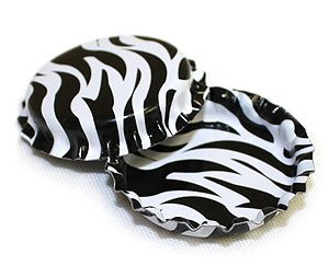 100 Zebra Print On Both Sides Bottle Caps New Unused Bottlecaps Cap 2 Sided Color front-86091