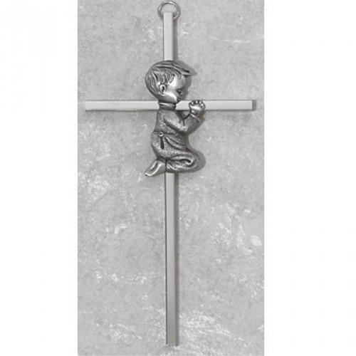 "6"" SILVER BOY WALL CROSS BABY INFANT CHRISTENING BAPTISM SHOWER"