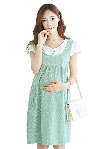 (モローズ) morrow's 授乳服 マタニティ ストンと1枚で 大人可愛い ワンピース ウェア ワンピース 妊婦服 (M, 薄緑)