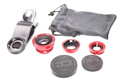 スマホ 用 カメラ レンズ クリップ 式 3種セット / 魚眼 + マクロ + ワイド  iPhone android 対応 【 レッド 赤 】