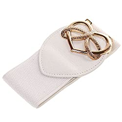 Heart Shape Ladies Buckle Belt Fashion Wide Stretch Girls Waistband - white, 61cm*6cm