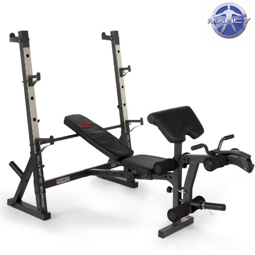 Marcy Diamond Elite Olympic Weight Bench with Squat Rack - 270kg Weight Load | Preacher Pad | Leg Developer