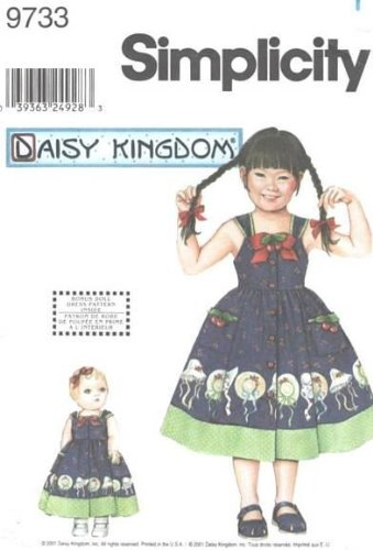 Simplicity 9733 DAISY KINGDOM Girls' Dress and 18 Inch Doll Clothes - Size HH (3, 4, 5, 6)