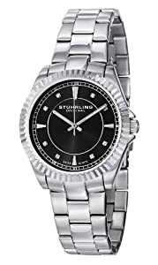 Stuhrling Original Women's 408L.12111 Aquadiver Regatta Lady Marine Swiss Quartz Black Dial Stainless Steel Bracelet Watch