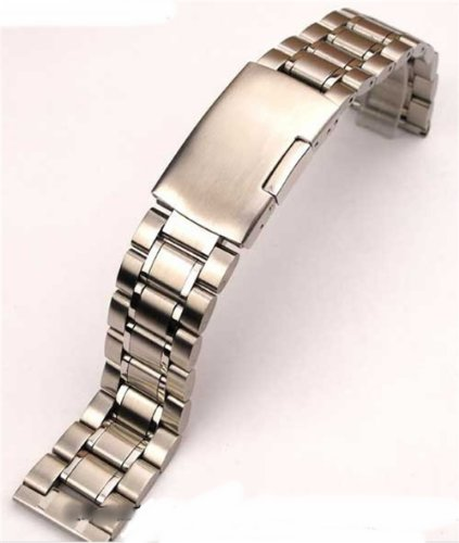Change of pace! Watch replacement belt stainless steel solid triple direct/indirect push type (silver, 22 mm)