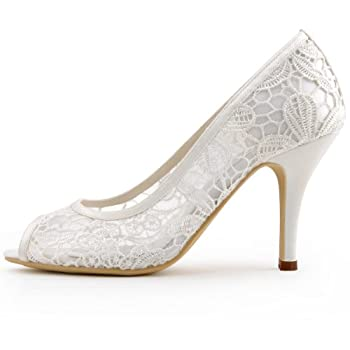 ElegantPark Ivory Women Peep Toe High Heel Pumps Vintage Lace Wedding Dress Shoes