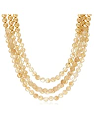 Aquamarine Fushion Collection Rhinestone Multi-strands Necklace for Women (Yellow, Gold and White) (AQ_42_C)