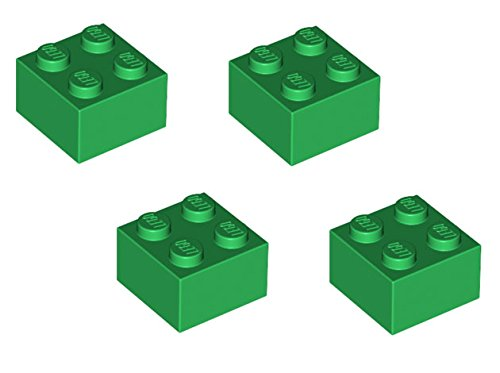 Lego Parts: Brick 2 X 2 (Pack Of 4 - Green)