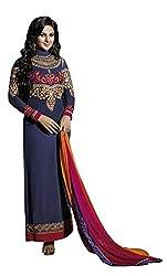 Fstore Blue embroidered georgette semistitched salwar suit