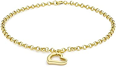 Carissima Gold 9 ct Yellow Gold Open Heart Drop Charm Bracelet of 18 cm/7-inch
