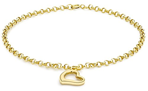 Carissima Gold Open Heart Drop Charm 9 ct Yellow Gold Bracelet of 18 cm/7 inch
