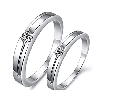 white zircon couple wedding rings 2 pieces for men and women - Couple Wedding Rings