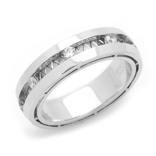 Sterling Silver Wedding Band 5MM Designer'S Channel Set Eternity Comfort Fit Ring - Size 6