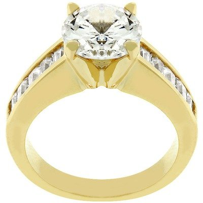 Gold Anniversary Style Cubic Zirconia Ring Size: 9