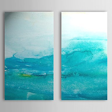 Sanbay Art 100% Hand Painted Oil Paintings on Canvas Hot Sale Abstract Vague Blue Wood Framed Inside 2-pieces Set Artwork for Living Room Kitchen and Home Wall Decoration