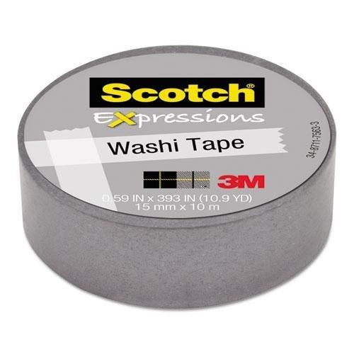 SCOTCH C314SIL Expressions Washi Tape, .59 x 393, Silver kitmmmc214pnkunv10200 value kit scotch expressions magic tape mmmc214pnk and universal small binder clips unv10200