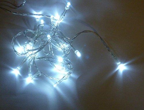 Batteriebetriebene Lichterkette mit 20 weiße LED - 2 Meter Länge -Weihnachten