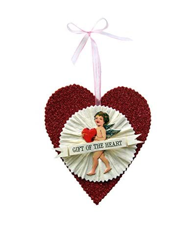 Wendy Addison-Tinsel Trading Co. Valentine Heart with Rosette, Red Multi