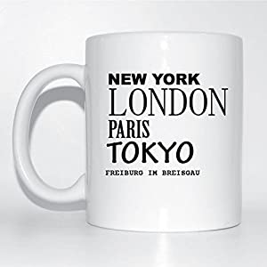 York, London, Paris, Tokyo, FREIBURG IM BREISGAU Kaffeetasse Tasse Becher Cup Mug - Farbe: weiß