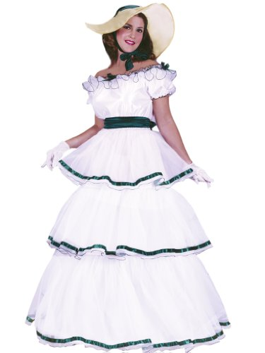 Women's Theatrical Costumes Southern Bell White Gown Green Ribbon Includes Hat