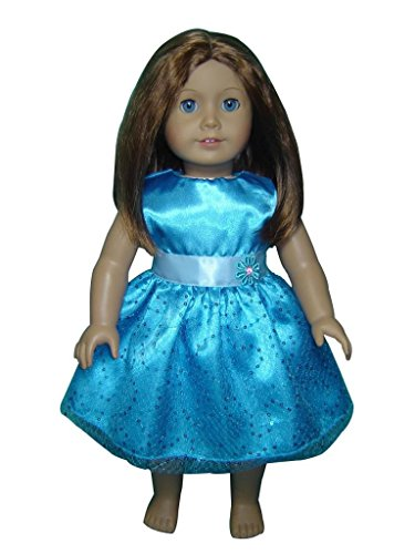 "Glamerup: Brittannee - Frozen Sparkle Elsa Inspired 18"" Doll Party Dress, Blue Flower"