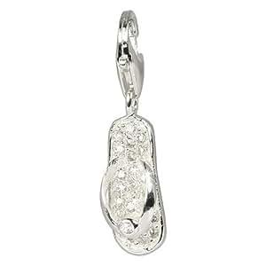 SilberDream Charms - Charm Dent zircone blanc pour charmes colliers bracelets ou boucles d'oreilles - Argent 925 Sterling - FC217W