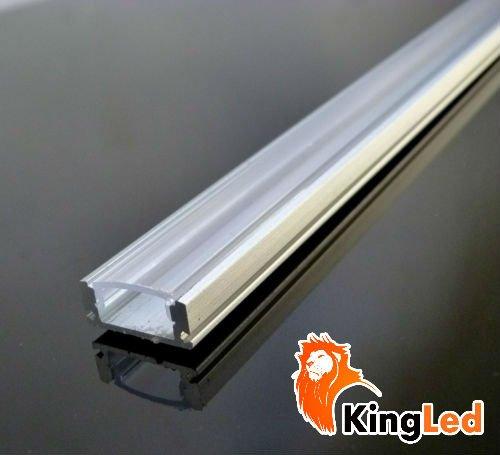 KingLed - Profilo in Alluminio da 1mt Modello CC-32 per Strip LED con Cover Trasparente in Plexiglass, Tappi e Ganci per il Montaggio cod. 0626