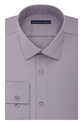 Geoffrey Beene Men's Sateen Fitted Solid Spread Collar Dress Shirt, Gunmetal, 17