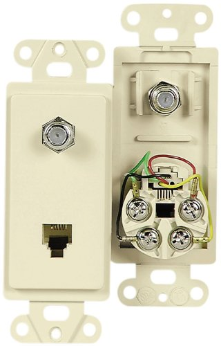 Cooper Wiring Devices 3562V Decorator Insert Combination Telephone Jack With 4-Conductors And Type F Coaxial Adapter, Ivory Color