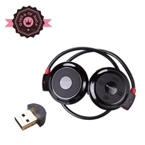 Queen Shop B503 Black Bluetooth Stereo Headphone For Music Stream & Handsfree Calling W/ 20 Hrs Extended Talk And Playback Time, 400 Hrs Standy Time, Built-In Mic, A2Dp, Avrcp Bluetooth Adapter As Gift