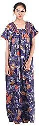 Milan Collection Women's Printed Dressing Gowns & Kimonos (MC-199_40, Blue, Size - 40)