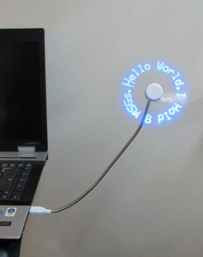 LED Programmable Message Fan W/custom Drawing – USB Powered (Blue Led)