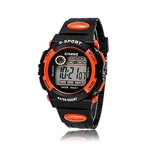 "Susenstore Waterproof Cool Mens Boy""s Digital LED Quartz Alarm Date Sports Wrist Watch (Orange)"