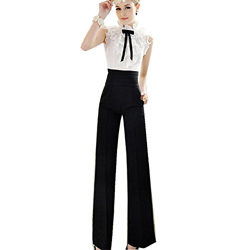 Elevin(TM) Fashion Women Casual Formal High Waist Flare Wide Leg Long Pants Palazzo Trousers (L) (Wide Leg Pants Women compare prices)
