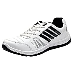 Columbus Mens White and Navy Sports Shoes (FM-15) - UK 6