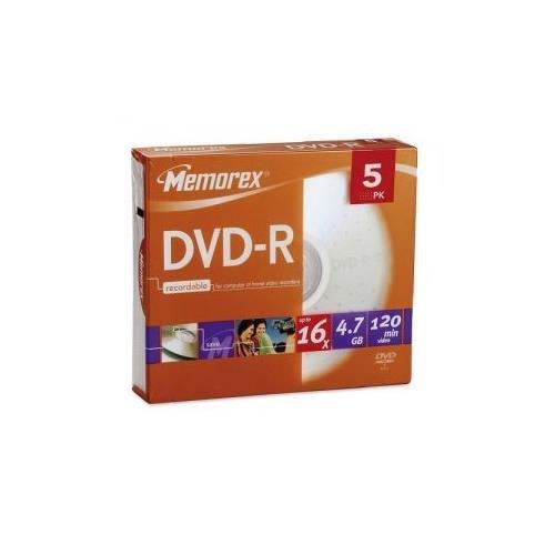 Memorex 16x DVD-R 4.7GB Discs 5 pack in Slim Jewel cases 05655 dvd r tdk 4 7gb 16x slim