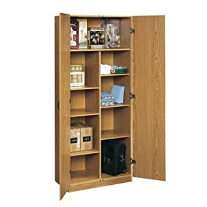 Oak home or office storage cabinet organizer for Amazon kitchen cabinets