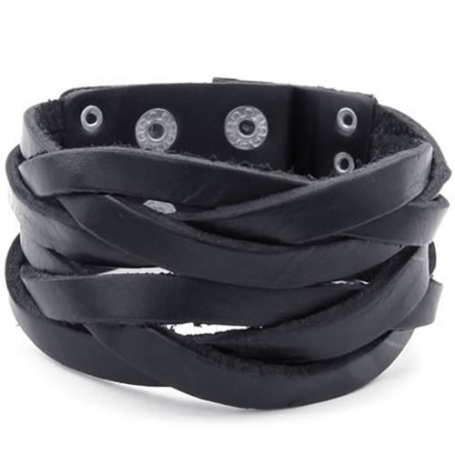 Konov Jewelry Mens Leather Bracelet, Punk Rock Bangle, Fit 21-22Cm Adjustable, Black
