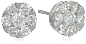 10k Gold Round Illusion Diamond Stud Earrings (0.75 cttw, H-I Color, SI2-I1 Clarity) from Max Color, LLC