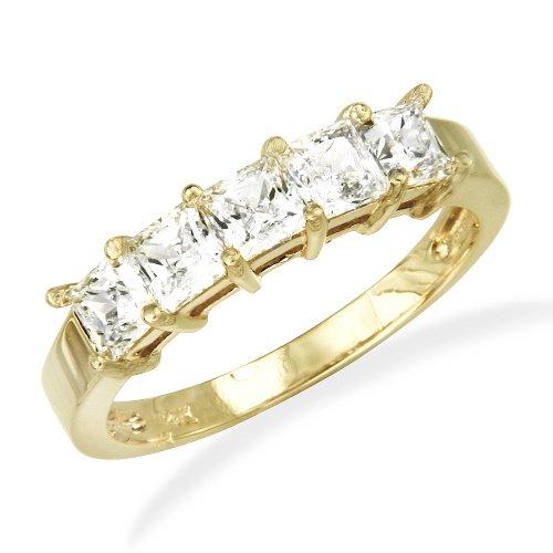 14K Yellow Gold Prong Set 5 Five Stones Princess CZ Cubic Zirconia Bridal Wedding Anniversary Ring Band 1.00ct