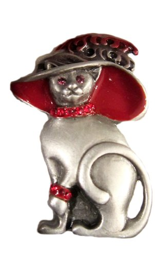 """""""Mother Cat In Sunday Hat"""" Magnetic Brooch"""