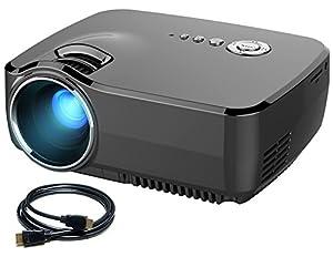 Portable Pico Projecteur Vidéo, Meyoung gp70 Full Color 150 «1200 Mini projecteur Lumens LED HD 800 * 600 Résolution pour Home Cinéma, Party et Jeux avec câble HDMI et Tuner intégré TV, Noir