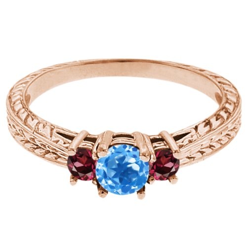 0.57 Ct Round Swiss Blue Topaz Red Rhodolite Garnet 14K Rose Gold 3-Stone Ring