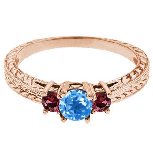 0.57 Ct Round Swiss Blue Topaz Red Rhodolite Garnet 14K Rose Gold 3-Stone Ring