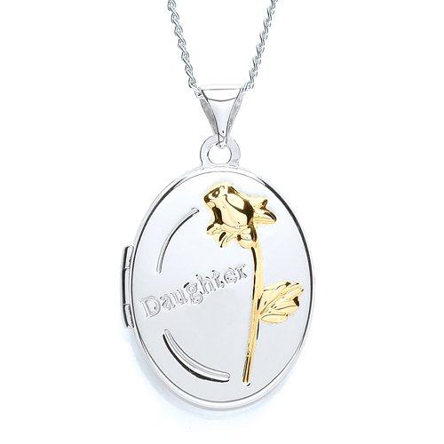 Chic Silver Oval 'Daughter' Locket with 46cm Chain